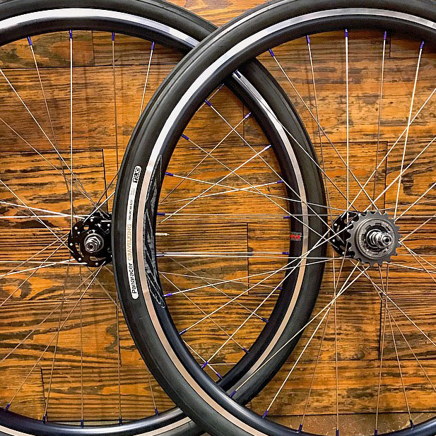 All-City single speed hubs with Paceline 7075 moonrock nipples & Velocity Quill rims