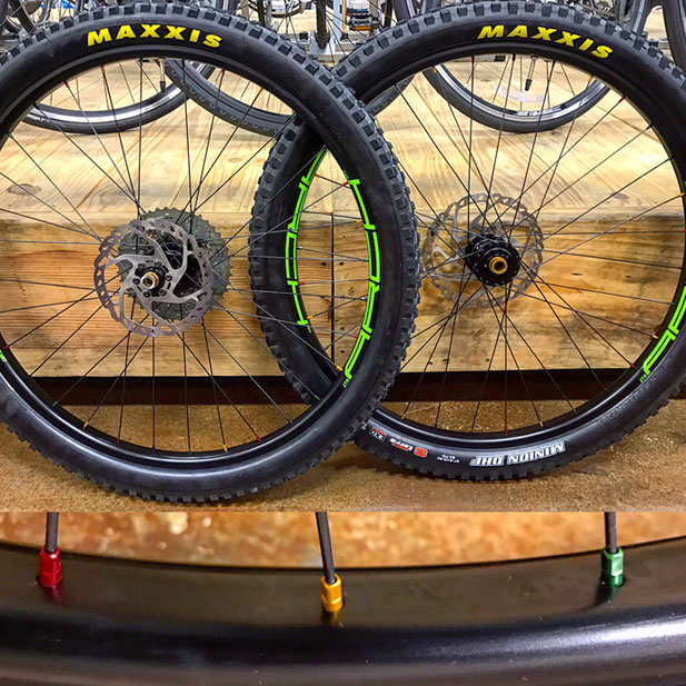 Onyx Racing Products hubs with DT Swiss rasta nipples & Stan's No Tubes Arch rims