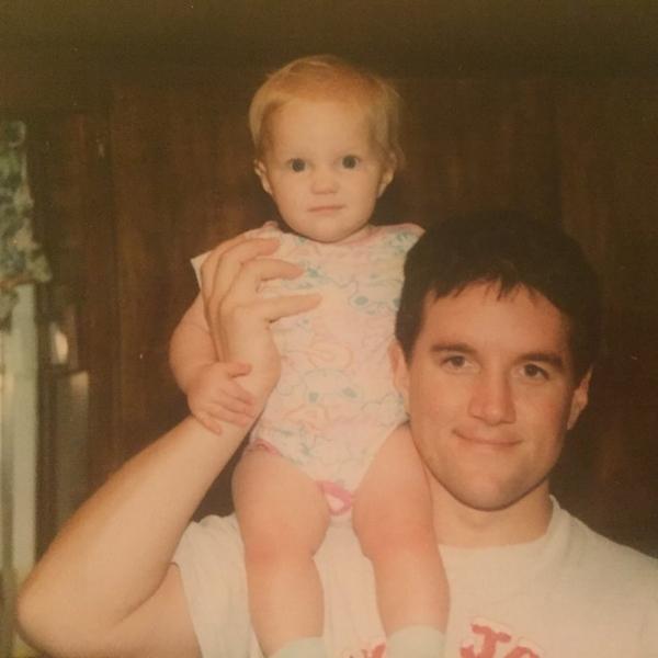 "circa 1995:my pop with his ""5lb sack of potatoes"""