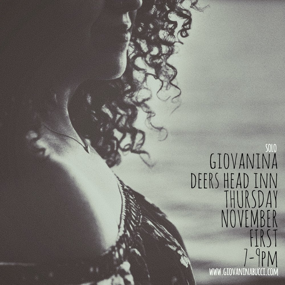 Join us for an evening of music with Giovanina Bucci on Thursday 11/1 @ 7pm. Reservations encouraged!    Bucci is a singer-songwriter based out of Burlington, VT. She is a member of the Blues/Soul/R&B group,    Nina's Brew   , as a vocalist and rhythm guitar player. Born and raised in Plattsburgh, NY, Giovanina has spent the latter half of her life attempting to appease a relentless appetite for travel and exploration. Having soaked up a diverse catalog of influences, culture, and conversations along the way--her style is nothing short of eclectic. Rooted in blues, soul, reggae, and hip hop, she writes about the intimate experiences that have shaped her as a human and as a songstress. A live performance quickly indicates how deeply Giovanina feels the songs, where and whom they were inspired by, and the stories behind them. She has released two solo albums, The Road Home in 2013 and A Bit of Alright in 2015. Nina's Brew released their first EP, Don't Tell Mama, in 2018 and are touring heavily throughout the northeast.