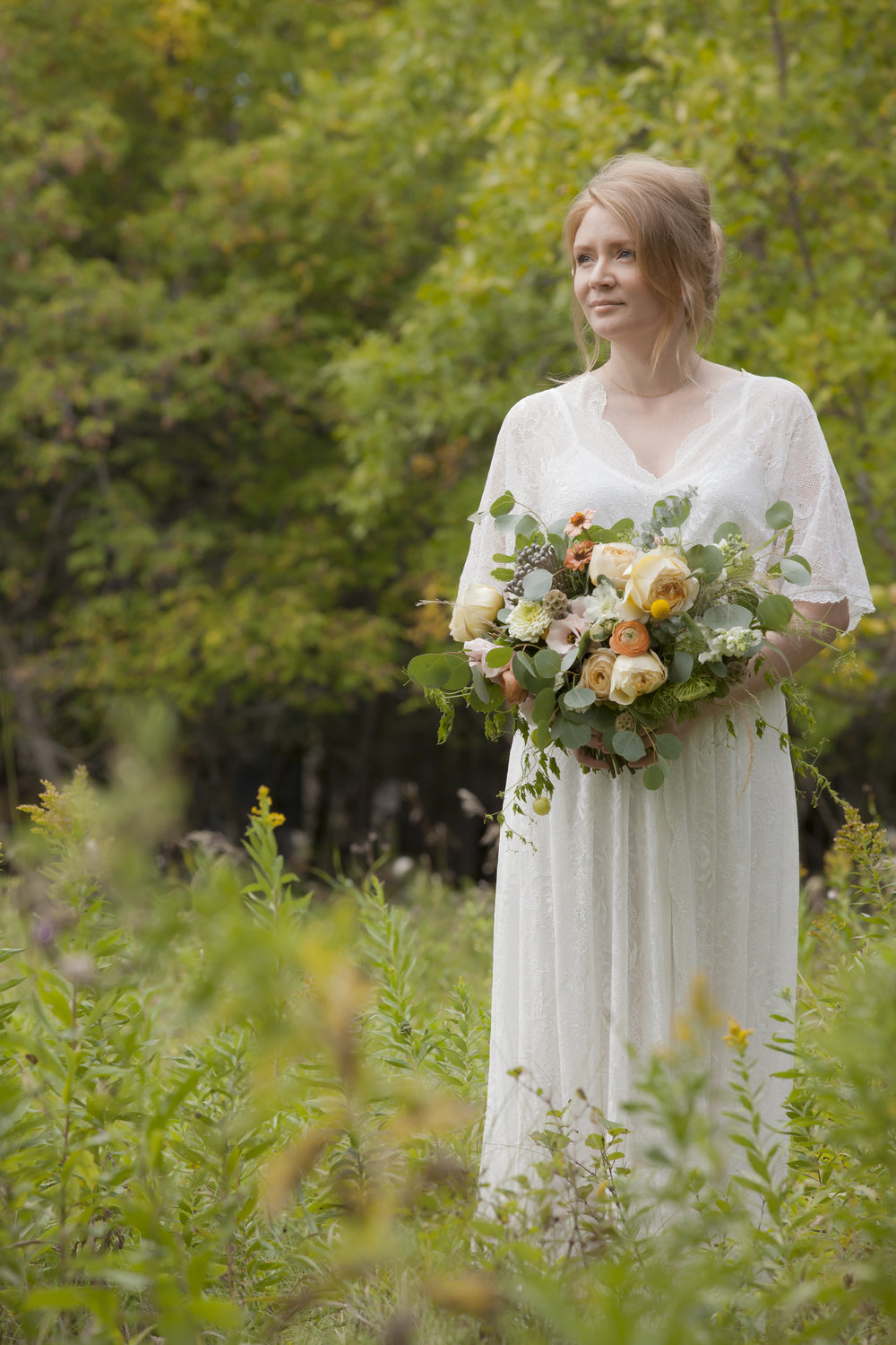 Bride in Assiniboine Forest.
