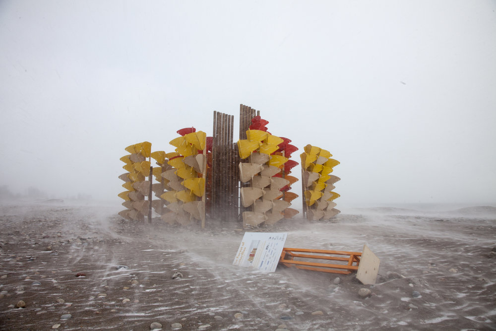 Wind and blowing snow at Woodbine Beach. This Winter Station seems to be holding up pretty well, but it's signage has seen better days.