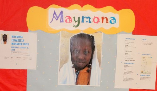 "We have ""adopted"" a little girl from Sudan with our Sunshine club. The students collect our recycling and raise money for her sponsorship. We have created a bulletin board for our school so all the other students in the school can read about her. We will be adding to the board as well, with new photos, and things are doing to help support her! The children are learning how they can support world citizens even in a small community and how their efforts can make a difference in others' lives. We often talk about volunteering here at home, but this shows them a bigger picture."