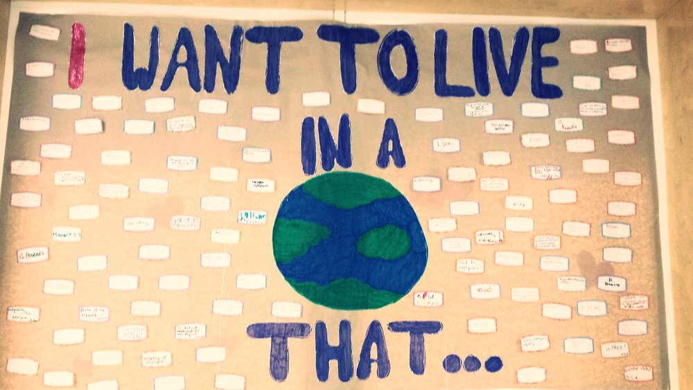 "The grade 6/7 class are making a conscious effort sharing their thoughts of what kind of world they'd like to live in, bringing  awareness and sparking conversation.  An interactive display board was created and the school community invited to share their thoughts by finishing the statement ""I want to live in a world that . . ."" The focus being, what ""WE"" can do to make this a reality.   The statement was also posted on Facebook inviting the community into the discussion.   Challenging people to think and share how they can make a positive difference in the world! Developing an understanding that dialogue is the first step to change and everyone's voice is important."