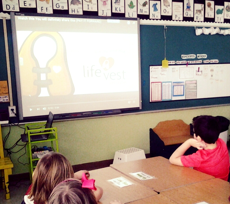 "Students in grades 2 and 3 watched the video ""Kindness Pay It Forward"". Without prompting students responded to the video's content. The major point of this video is that a single person can create a ripple effect of kindness. These actions do not need to be huge grand gestures. The simple thoughtful acts seen in the video are concrete forces for positive good.  Examples of student responses:  ""It's like the circle of life.""  ""It sort of made me happy/sad.""   Pay it Forward -  https://www.youtube.com/watch?v=    One good deed might not seem like much, but if everyone did something good for someone else, then the cycle of generosity and kindness can spark us to become better people."