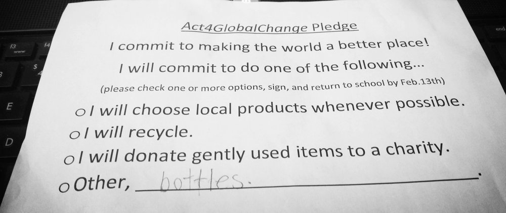 We decided to make a commitment to being active global citizens by pledging to make the world a better place. Each student took home a pledge sheet and decided with their family what commitment they would like to make to change the world. Their options included; choosing local products, recycling, and donating used clothing/items. The grade four class then collected and counted the pledge sheets for the school. This is a great activity that empowers our students to think of small things they can do to make a big difference in the world.