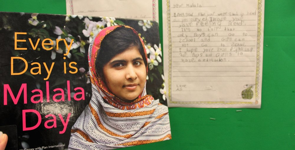 We read and discussed the book Every Day is Malala Day. Most students were not aware that girls are treated differently than boys in some parts of the world and that not all children are able to receive an education like they do. They were also shocked by the violence used to stop one brave girl from speaking out about this injustice. The students wrote letters to Malala to express their feelings about what happened to her, to show support for her cause, and to tell her why they think what she is doing is so important to people everywhere in the world.  This activity connects to global citizenship because it helps children to see the social injustice that exists in our world and that it can have direct impact on children their own age. By discussing the importance of Malala's cause, students are able to relate their thoughts and feelings to the situation as well as make connections to their own lives. Many of the boys said they would not think it fair that they be able to get an education and their sisters not. It also helps to show how Malala is trying to make a change by speaking out and writing about her experience in hopes of challenging, and eventually changing, the inequality that exists against girls in our world.