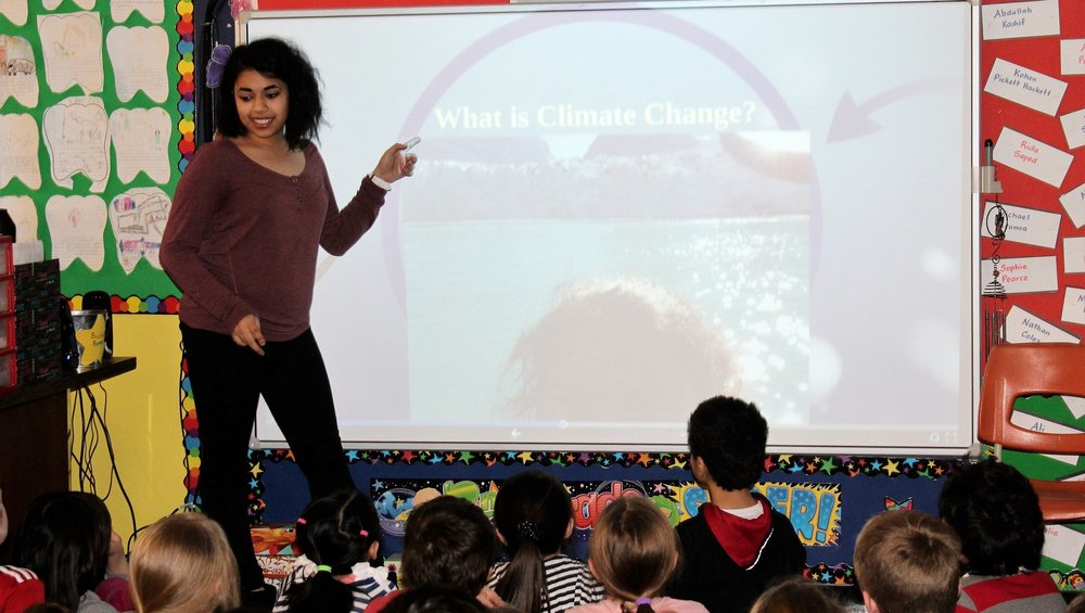 Our Youth Ambassador, Noha Shehata, came to our grade 2 classrooms and presented on the topic of Climate Change. She engaged the students in learning about the effects of global warming and the role we can play in helping the environment. She asked lots of questions, challenged the students thinking, and evaluated their knowledge and learning at the end of the presentation. The children were very engaged and enjoyed sharing their knowledge about the topic.    This activity relates to global citizenship because knowledge is key to awareness and change. Children need to understand the effects of climate change on the world so that they will realize the importance of their role in helping to protect and preserve the environment. Even as children, they have a role to play and can help to make a difference.