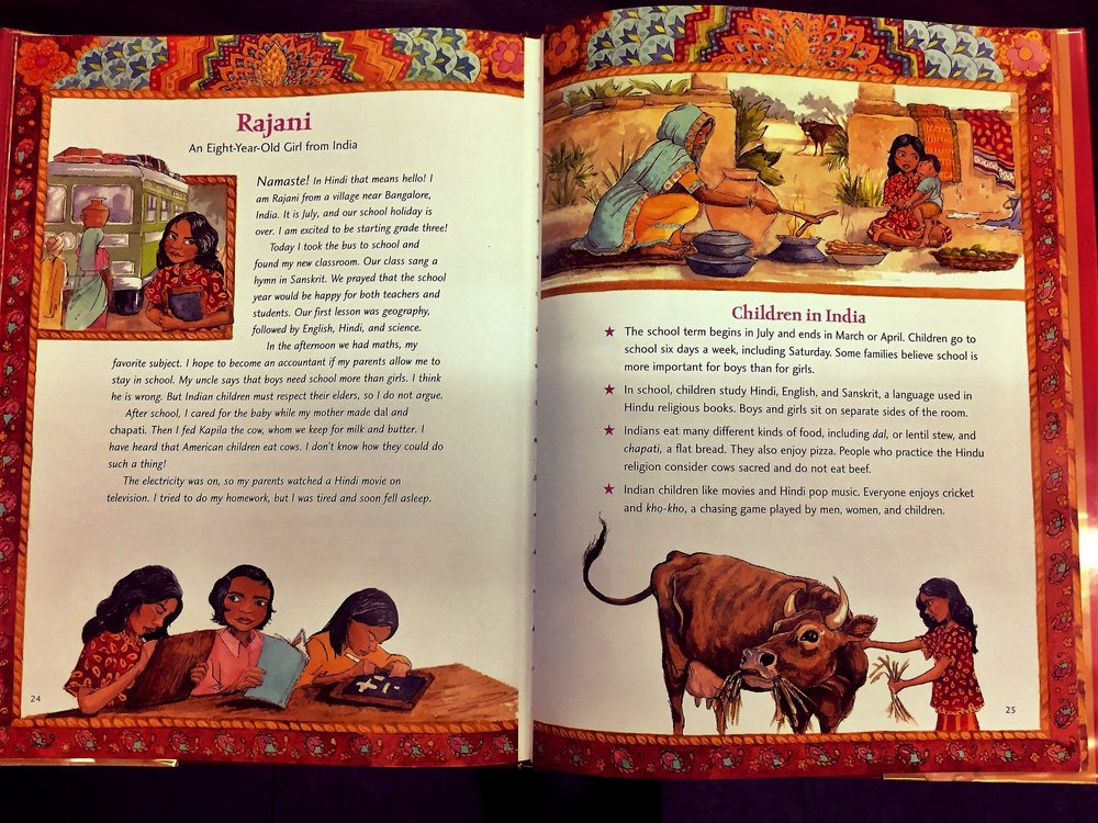 Every day, for the past 2 weeks, we have been reading, discussing, comparing, and contrasting our school practices with those of other countries. We read one section a day in the book\: It's Back To School We Go, which tells a story about a child getting ready for and experiencing their first day of school. On the accompanying page, several facts are stated about school-related traditions in that country. Children are fascinated that school is not the same everywhere....some children go to school 6 days a week, whereas other children may get off school at 12 noon every day.  This activity relates to global citizenship because it helps children to see how they are alike/different from children in other cultures and counties. However, the focus here is on school-related traditions and practices. The children are intrigued by the differences and enjoy choosing which country's traditions they prefer/disagree with and why.