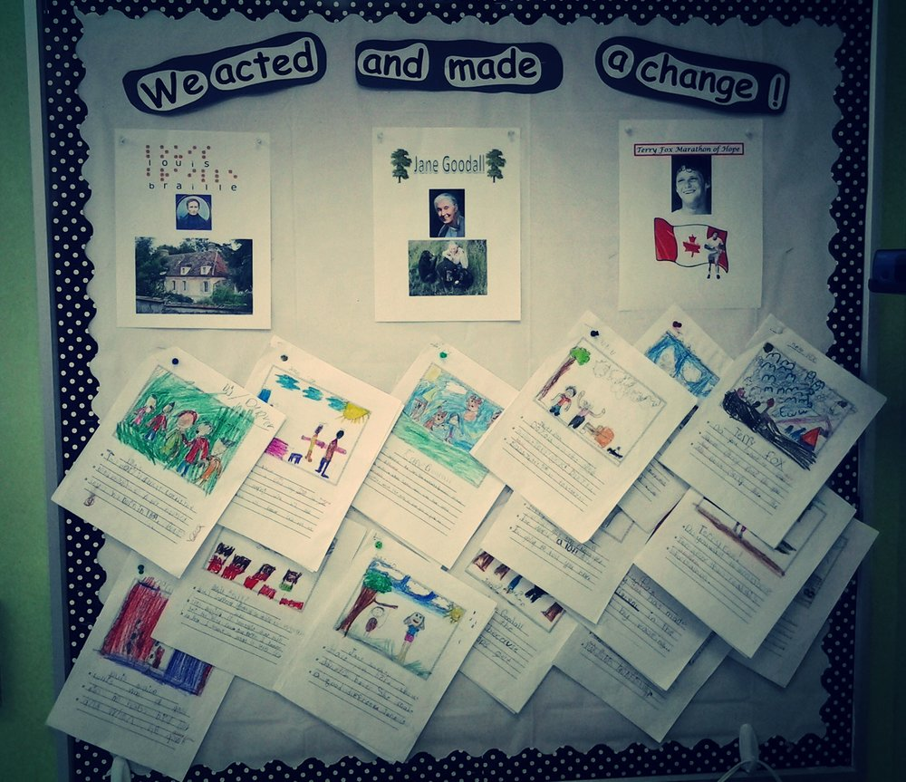 We Acted and Made a Change: throughout the month of February the grade 2 students focused on three individuals whose life circumstances set them on a path that has positively impacted the world.  Each student chose one of the three and wrote a report which was presented and then displayed for others to read.  Sometimes life disruptions cause us to create opportunities that inspire us to make global change possible.