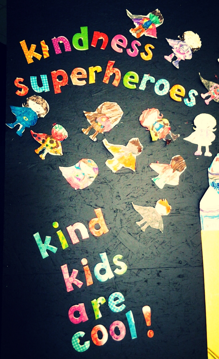 "Our k-1 class took on the challenge of becoming ""Kindness Superheroes"". It was their mission to be kind to others in how they spoke and acted.  They made a display of superheroes signifying the power they each have to spread kindness.   Everyone wins when we're all kind to one another. We must never underestimate the power of kindness. We never know how much happiness our kindness can bring to someone's life."