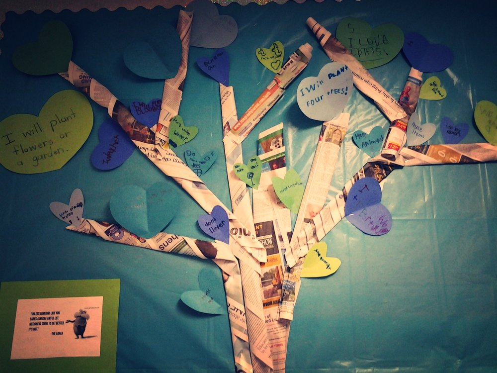 The k-1 class joined forces with the grade 2-3 class to talk about the importance of caring for the environment.  They discussed small acts that even little kids can do to make a difference for the environment. They reused old newspaper and scraps of paper to create a display, which encourages others in our school to take action for the environment.  If we want a healthy and positive environment we must first have a blueprint in the imagination, a vision. Then that idea can be implemented and materialize. Destruction of natures resources results from ignorance, lack of respect and greed. Children need to know the truth about their responsibility toward the environment.