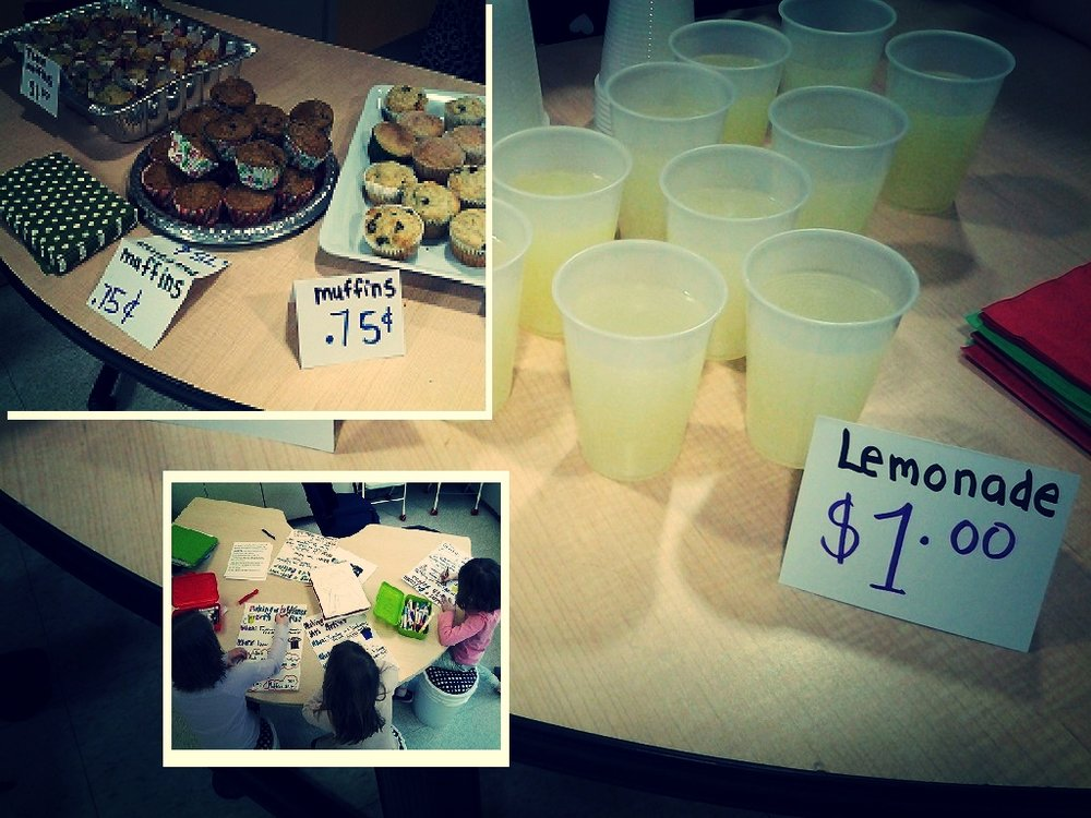 "Making a Difference With Muffins: The grade 2 class read about and then discussed the work of animal and environmental activist Jane Goodall.  Out of these conversations and students learned more about the issues the Chimpanzees face.  Each year the grade 2s hold a, ""Making a Difference With Muffins"" sale.  They choose a specific cause to support. They then create posters and make morning announcements to inform the student body of their chosen cause and encourage them to support their fund raiser.  This year students wanted to raise money and donate the proceeds to Jane Goodall's, Roots and Shoots program. Students and Staff supported the grade twos by purchasing muffins and lemonade.   Everywhere she goes, Jane urges audiences to recognize their personal power and responsibility to effect positive change through consumer action, lifestyle change and activism. Global citizenship at its best."
