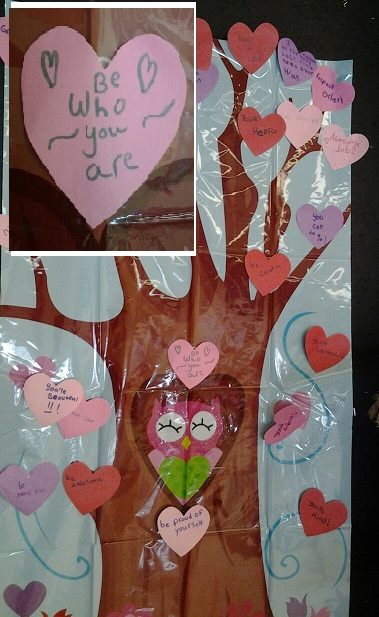 Grade 5 made hearts to post on a large tree to put on display. The hearts offered words of kindness and encouragement.  Communication is vital to solving any problem and the words we use will either build a person up or take them down. We can choose whether our influence is positive or negative.