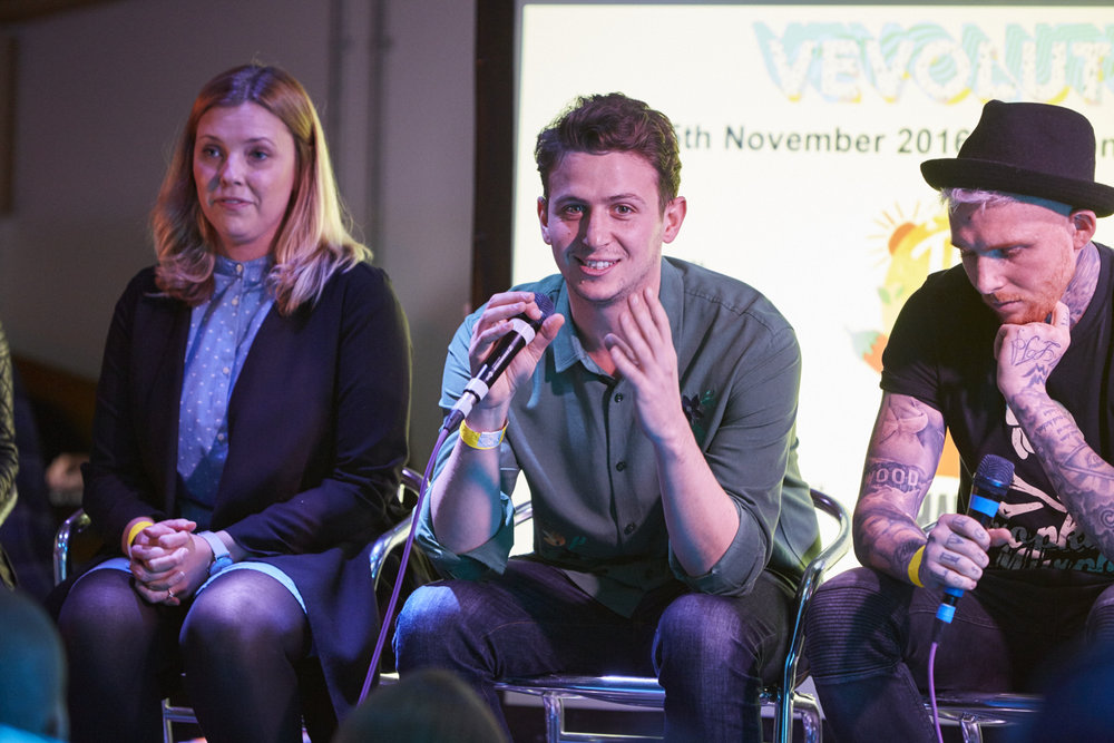 Alex Petrides (centre) during the entrepreneur panel at Vevolution 2016. (Picture by Simon Way Photography)