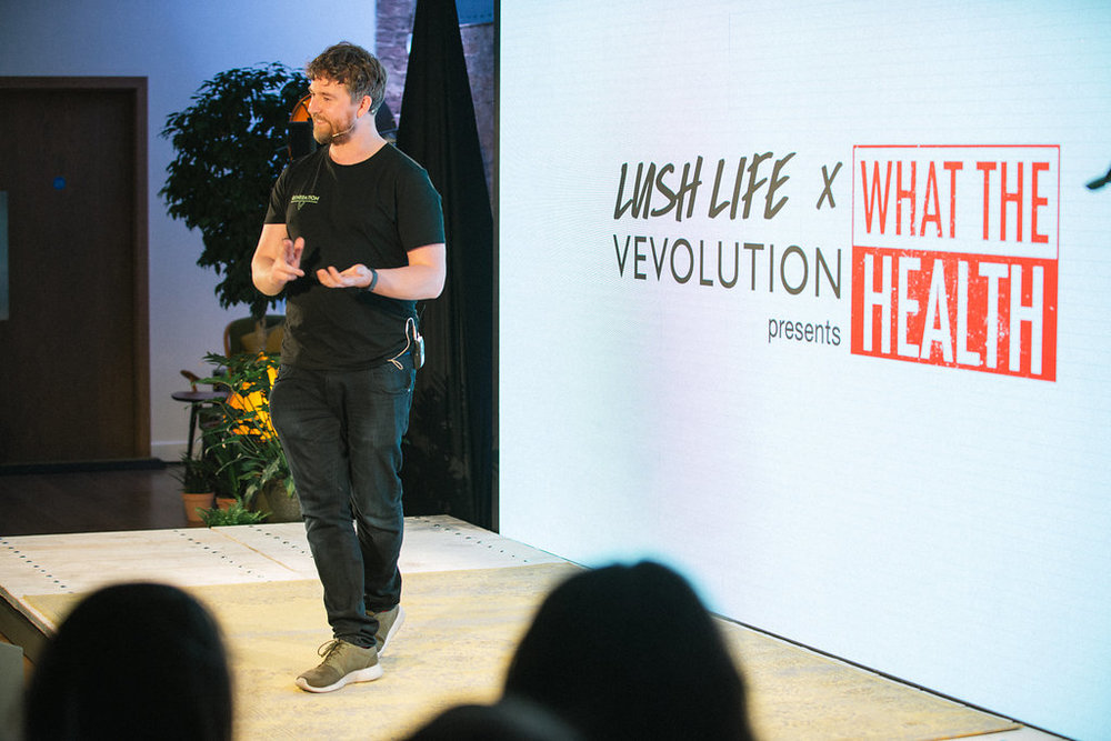 Vevolution Co-Founder Damien Clarkson opening up the What The Health UK Premiere