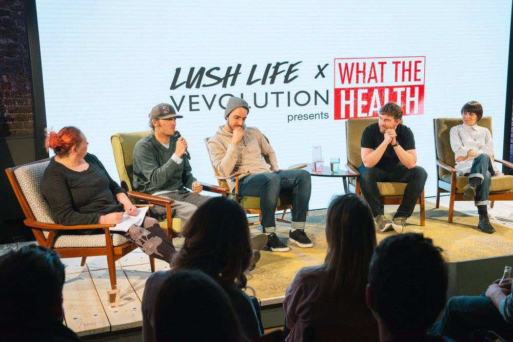 Vevolution returns to LUSH Studios. Pictured: Vevolution co-host the premiere of What The Health Film at Lush Studios in 2017