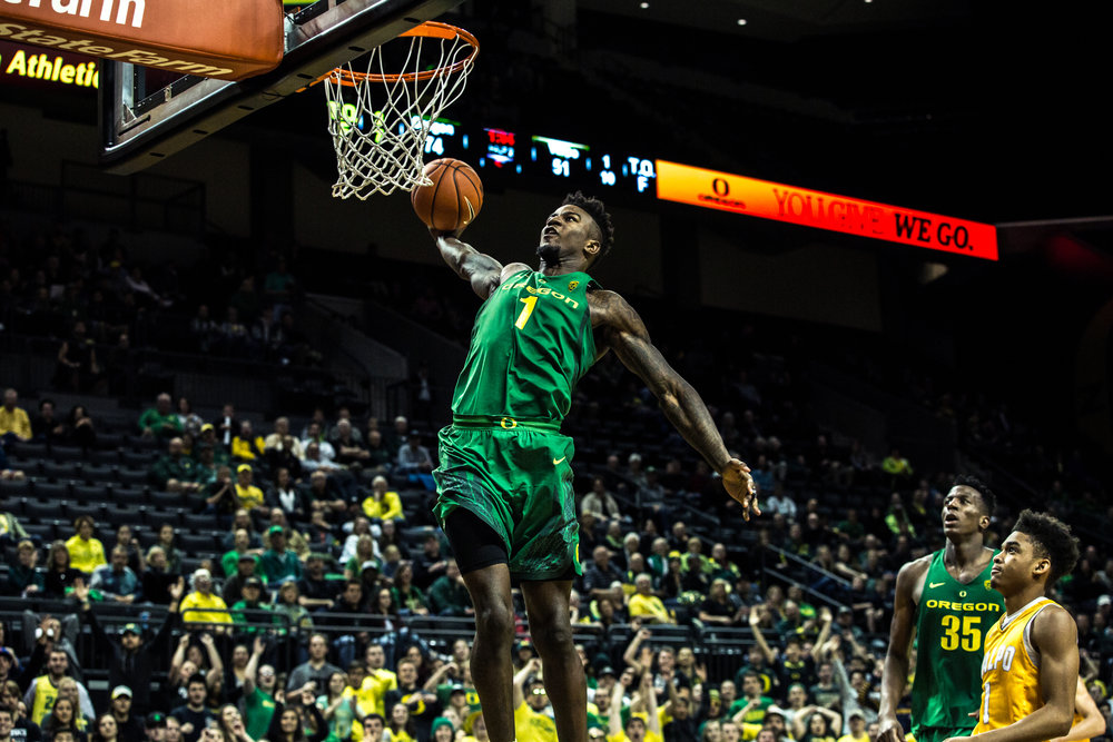 Oregon Ducks forward Jordan Bell (#1) slams the ball into the rim after a takeaway..  The Oregon Ducks defeated Valparaiso 76-54.