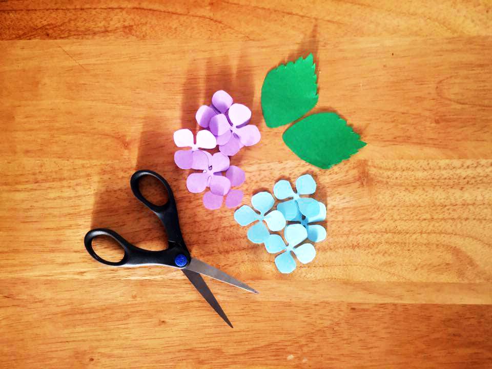 Paso 1 - Imprime en el papel de color las plantillas. Yo impimí una de las hojas, 2 de las hortensias en papel azul y 2 más en papel violeta. //Print the templates on the colored paper. I printed 1 sheet of leaves, 2 of the hydrangeas on the blue paper and 2 more on the lilac paper. Paso 2 - Corta los petalos y hojas. Yo utilicé alrededor de 45 petalos en las bolas más grandes y 25 en las pequeñas. //Cut the petals and leaves. I used around 45 petals on the bigger balls and 25 on the smaller ones.
