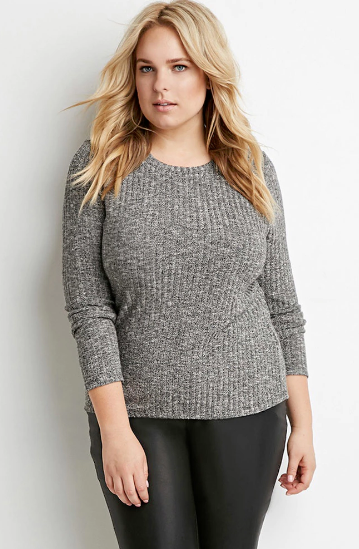 Plus Size Marled Rib Knit Sweater   Forever 21 PLUS   2000162321.png
