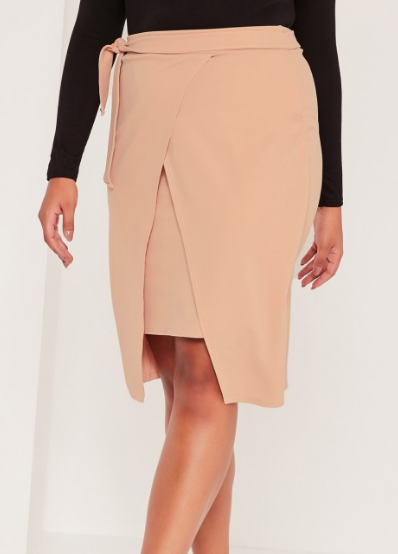 Plus Size Wrap Tie Side Midi Skirt Nude   Plus Size   Clothing.png