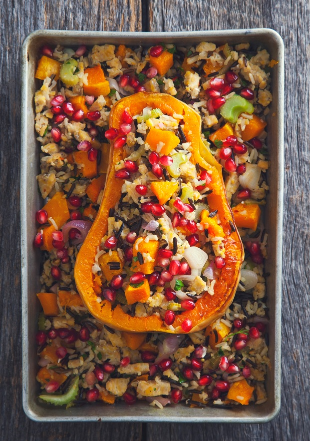 Stuffed Butternut Squash with Tempeh - Pickles & Honey