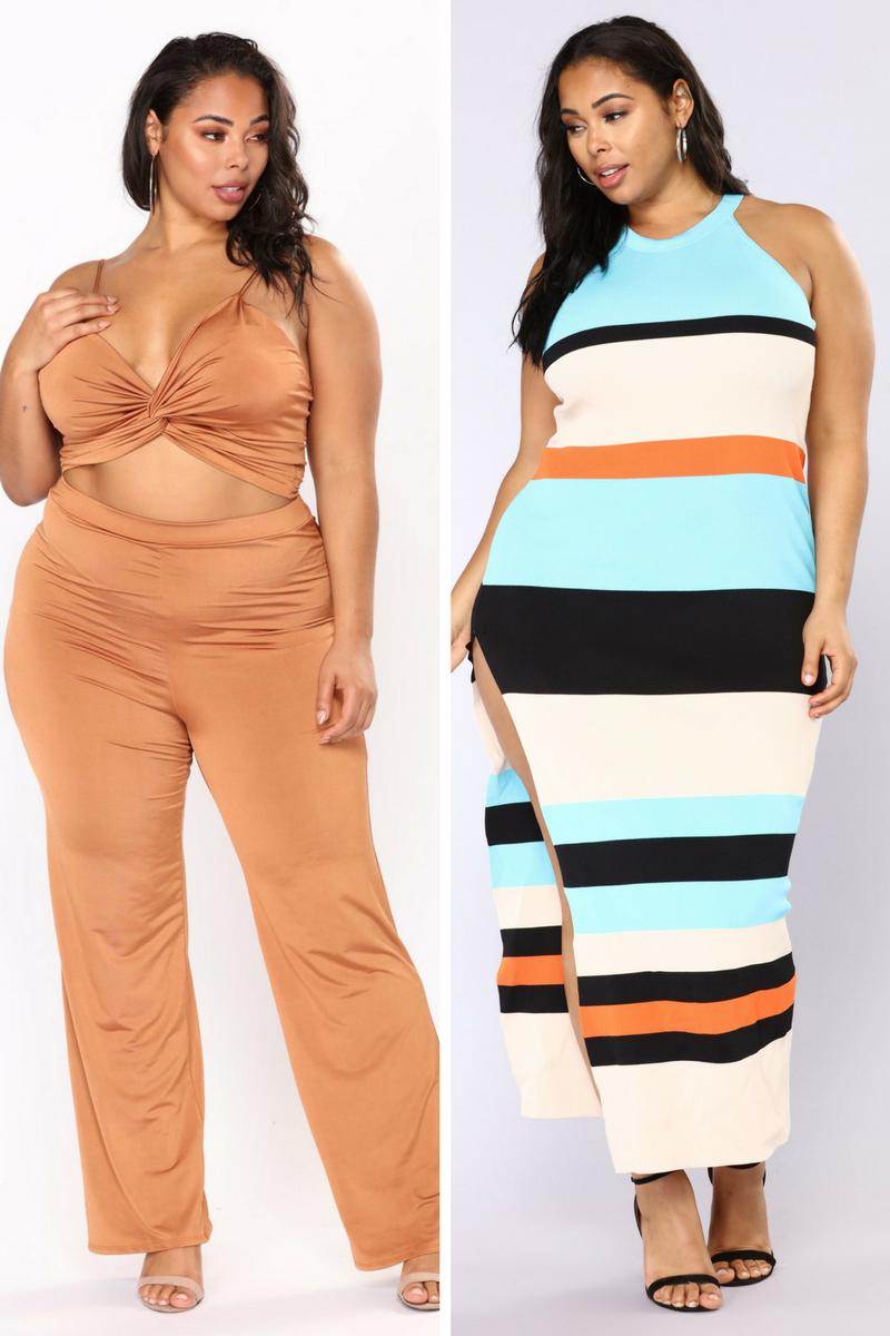 Shiloh Pant Set from Fashion Nova  (affiliate link)//  Pretty Fly Maxi Dress from Fashion Nova  (affiliate link)