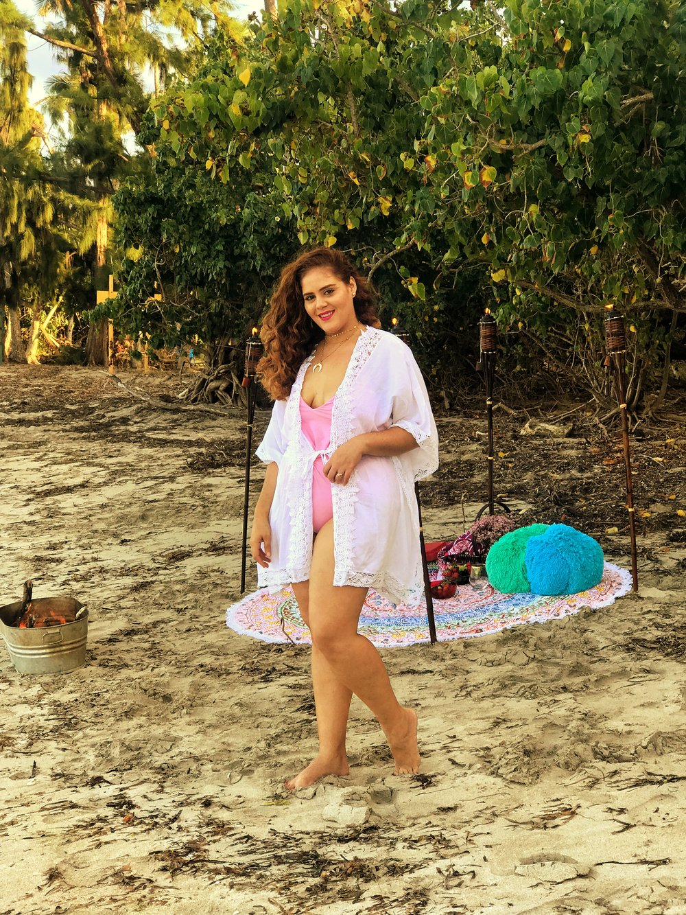 Under the Sun Cover Up  |  Color Inspiration Round Beach Blanket  |  African Days Round Beach Blanket