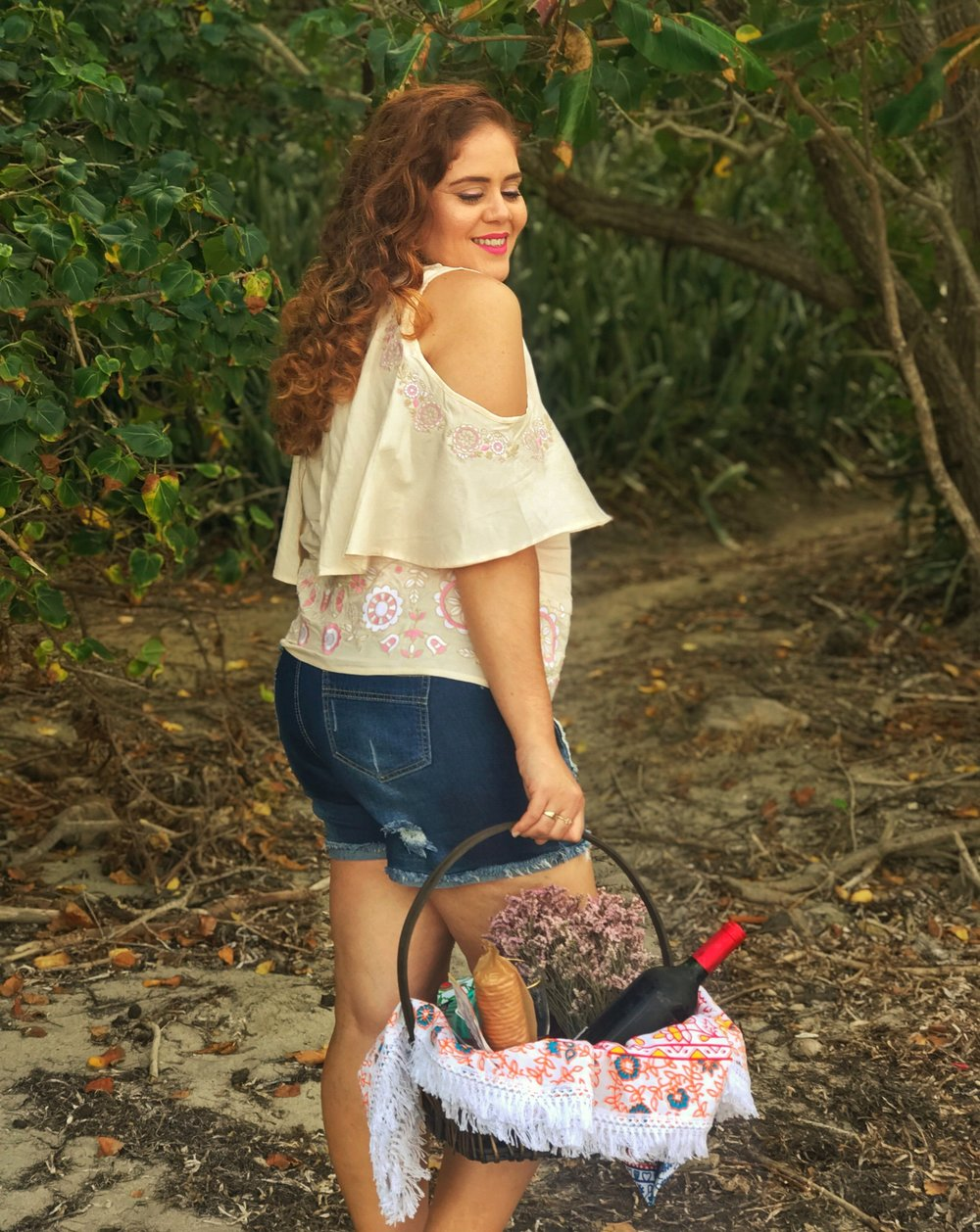 Embroidered Top in Sun Kiss  |  Mid Rise Short Jeans  |  Color Inspiration Round Beach Blanket