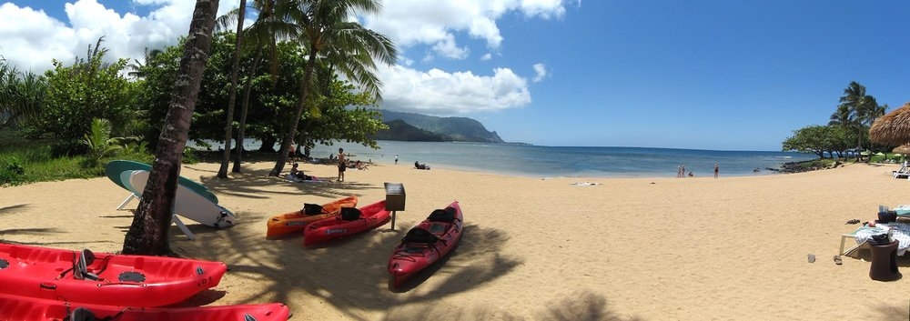 This is the St. Regis Beach. It's public and kayaks, surfboards, and fun water adventure here.