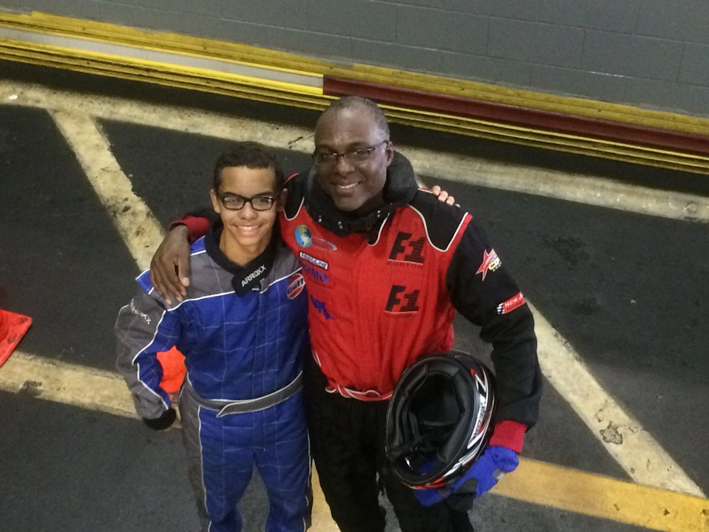Blake and His Dad at F1 Boston Father/Son Endurance Race