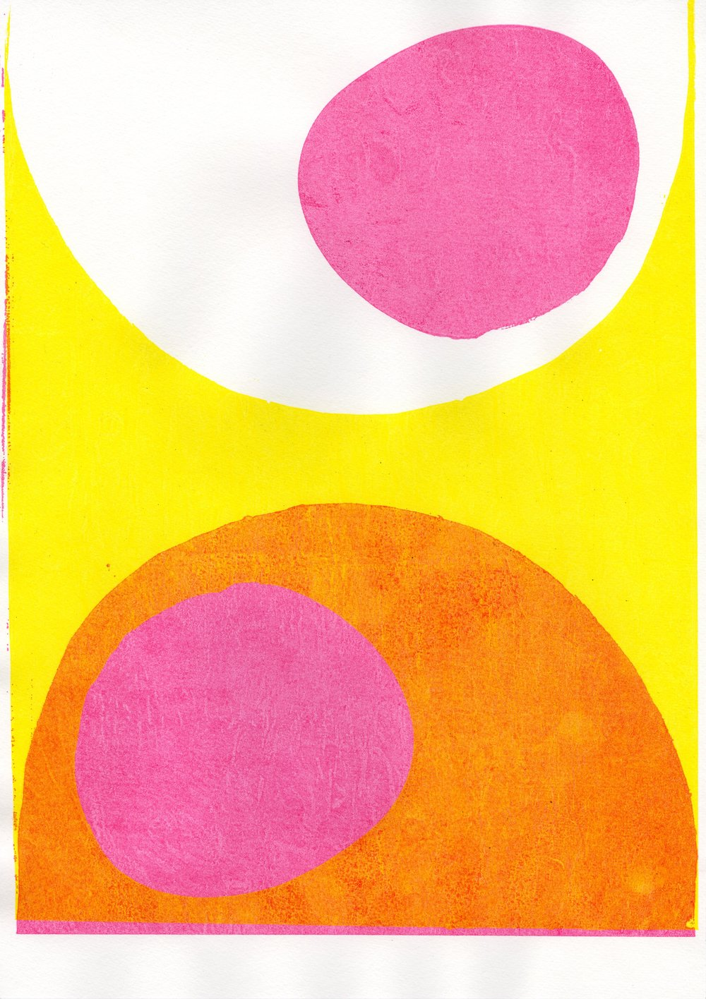 this one was inspired by a Mike Perry screen-print (inspired:ripped off) I made it by print the acetate in positive and negative, and then turning one upside-down. I love the pink and yellow overlay, with a wrinkly texture that came from drying the print off with newspaper)