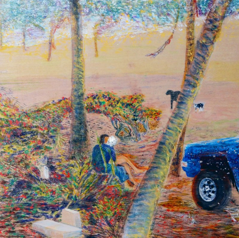 Lovers Under Palms with Two Dogs and a Pickup Truck, Kapa'a, HI