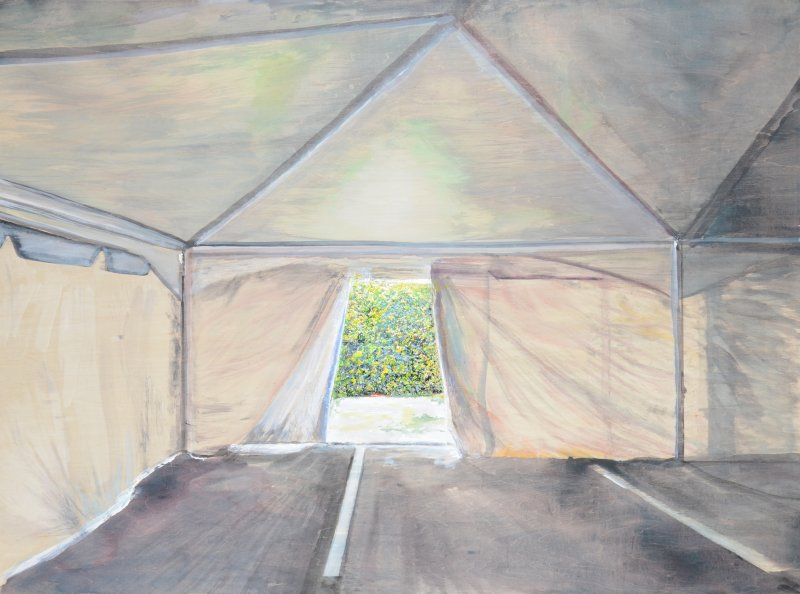 Empty Tent on Mall Parking Lot
