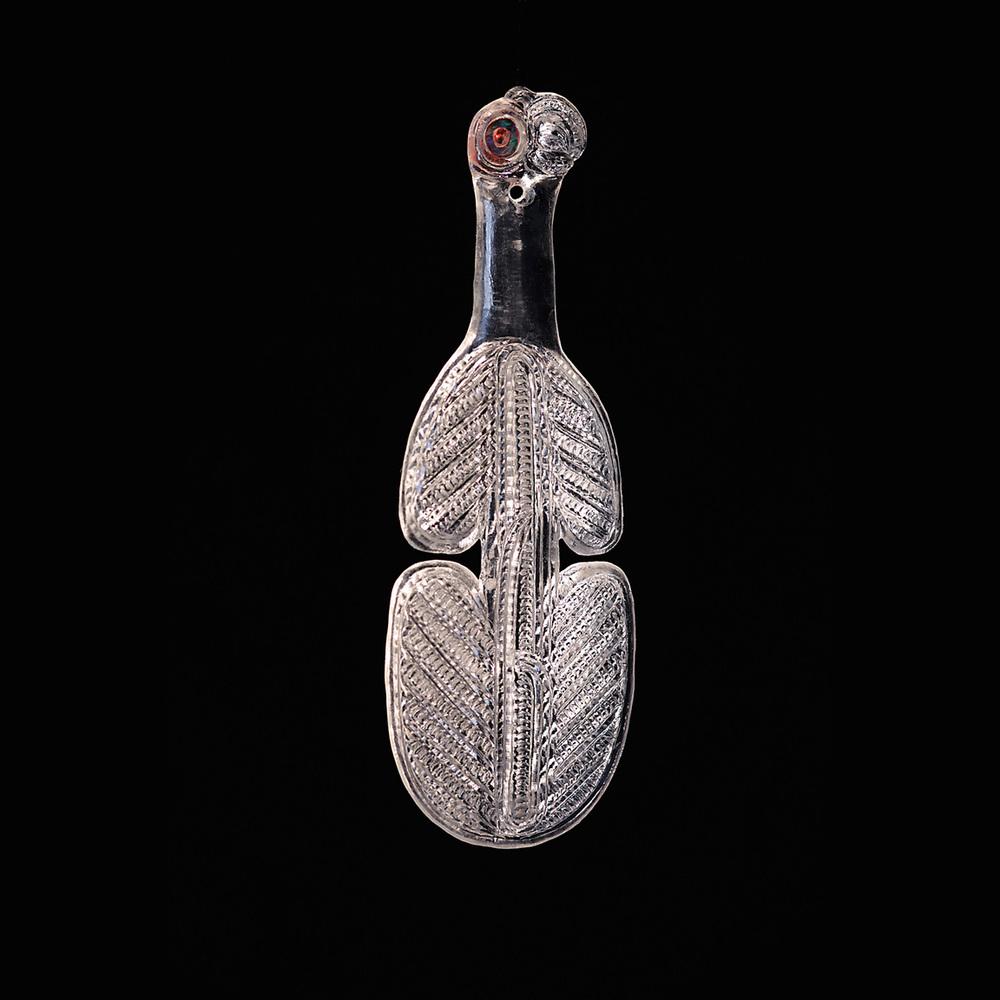 Kotiate    George Nuku, p  lexiglass,paua shell, red pigment