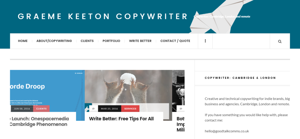 The old Graeme Keeton Copywriter site — isn't it yucky?