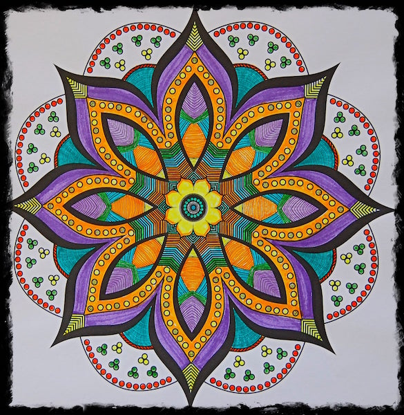 graphic drawing of a purple and orange flower