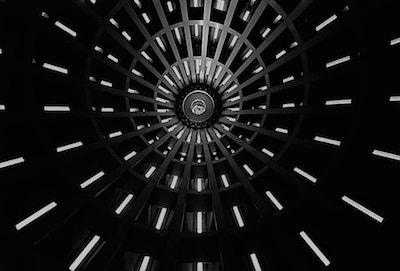 black and white interior of turret