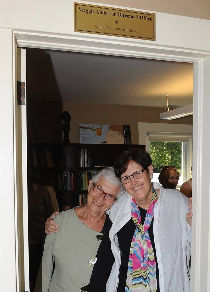 Dr. Judith Gold Stitzel and Maggie at the Wick Poetry Center