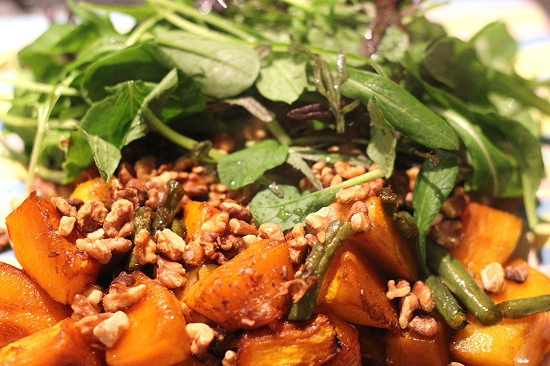 Green Bean, Caramelised Pumpkin, and Roasted Walnut Salad