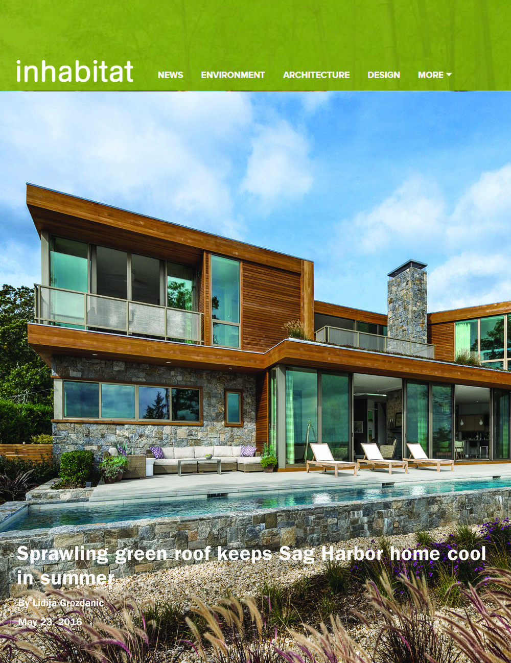 Inhabitat May  23 2016                               Sprawling Green Roof Keeps Sag Harbor Home Cool in Summer
