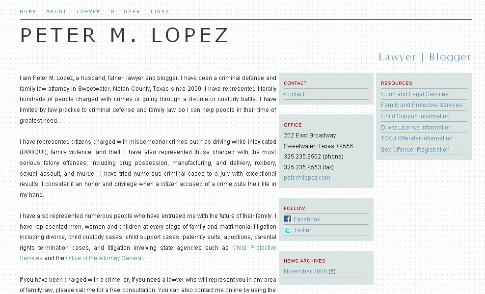 Peter M. Lopez website redesign. petermlopez.com