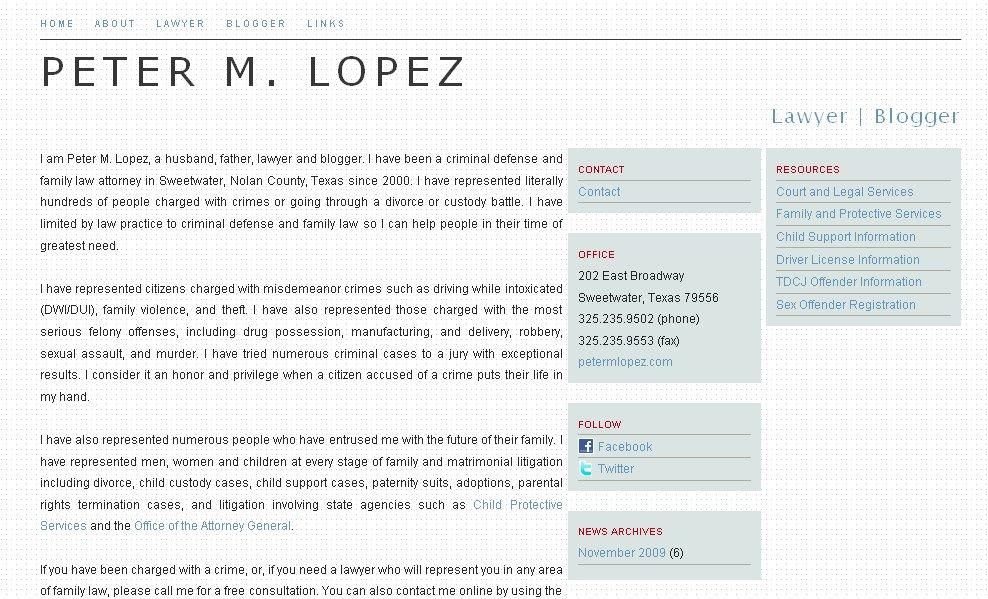 Peter M. Lopez website redesign. petermlopez.com