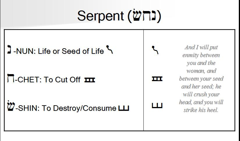 Serpent in the ancient Hebrew pictographs.