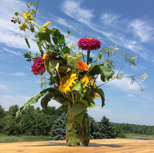 Vegetables and herbs have flowers too! See if you can spot the cilantro, dill, or peas in this bouquet.