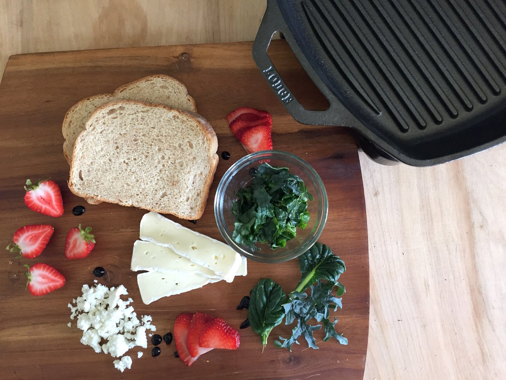 Grilled Greens & Brie with Strawberries Recipe Ingredients
