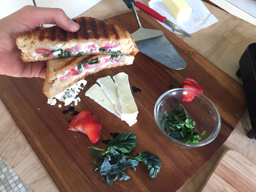 Grilled Greens & Brie with Strawberries Recipe