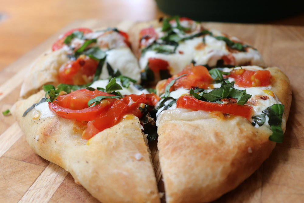 Homegrown Caprese Flatbread Recipe with Tomatoes and Basil