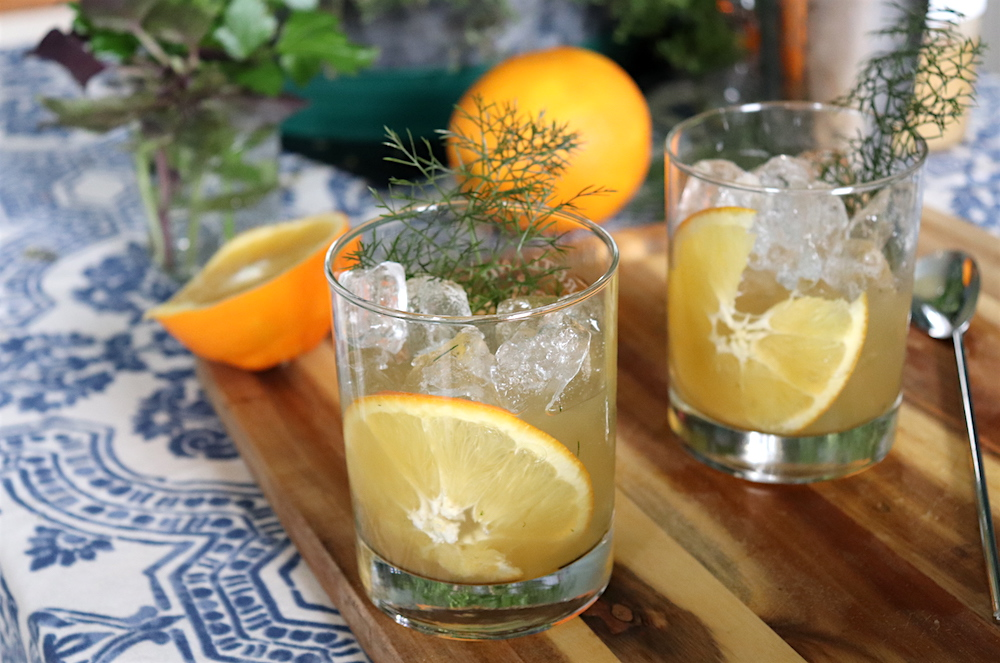 Fennel Flannel Cocktail with Homegrown Bronze Fennel Leaves