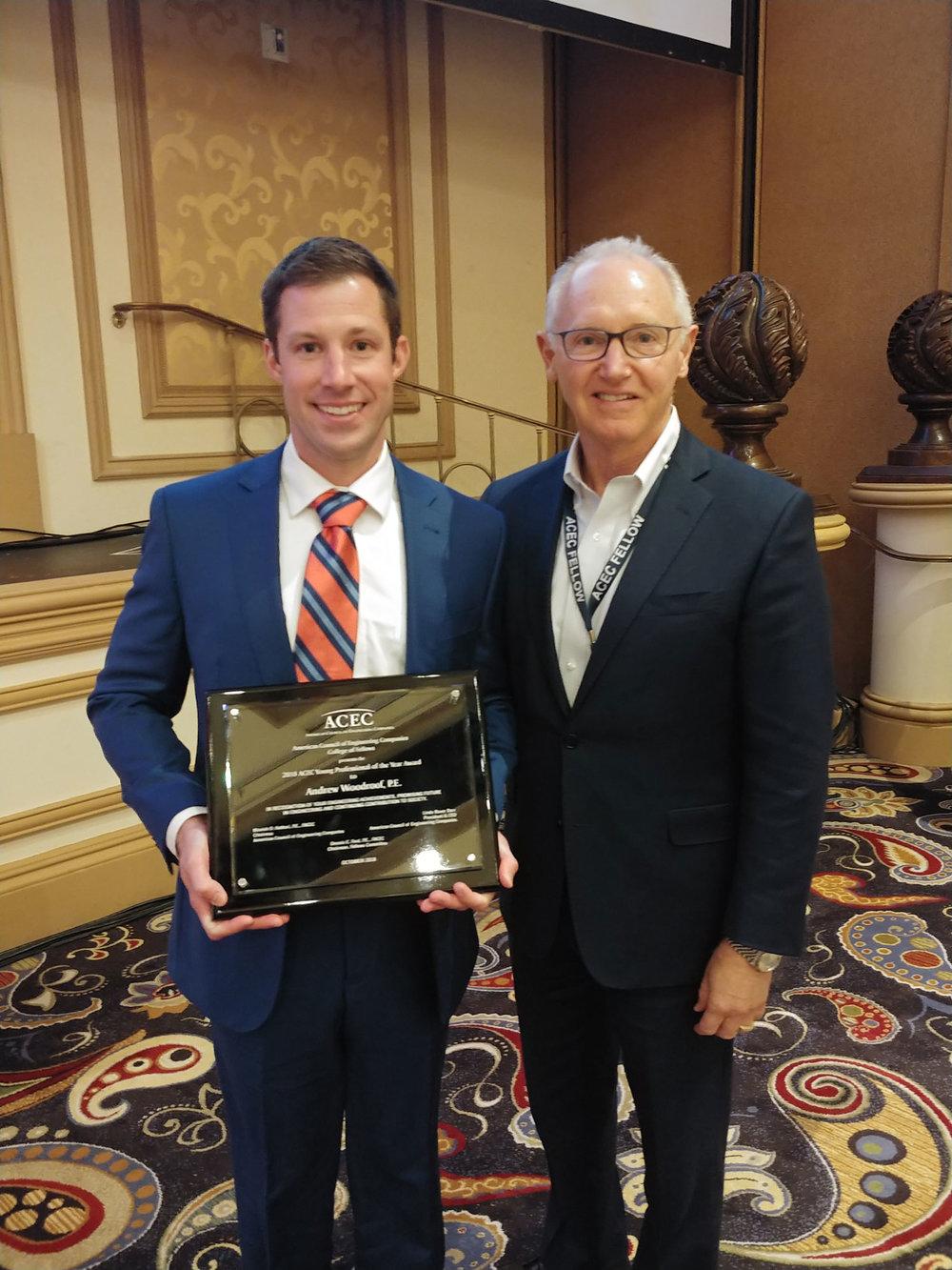 Award winner, Andrew Woodroof, with DE CEO Kurt Evans